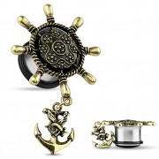 Ecarteur plug en acier avec roue de bateau et ancre marine en laiton