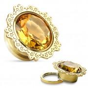 Ecarteur plug en acier doré à fleur de Lotus avec pierre ambrée