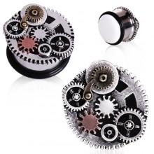 Ecarteur plug en acier à engrenages style Steampunk