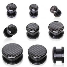 Ecarteur plug en acrylique à imitation fibre de carbonne noire
