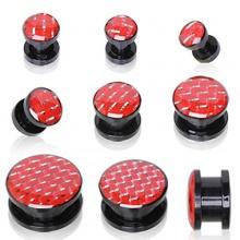 Ecarteur plug en acrylique à imitation fibre de carbonne rouge