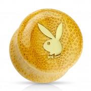 Ecarteur plug en bambou avec lapin Playboy doré
