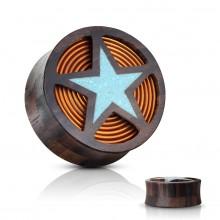 Ecarteur plug en bois à étoile couverte de turquoise