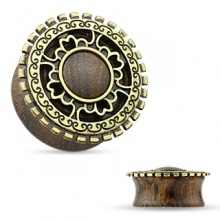 Ecarteur plug en bois à face style bouclier antique en laiton doré