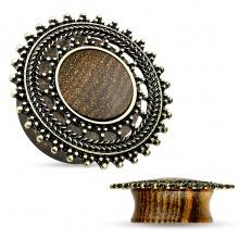 Ecarteur plug en bois avec bouclier tribal en laiton