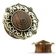 Ecarteur plug en bois avec dentelle de laiton style antique