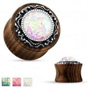Ecarteur plug en bois avec opale synthétique et anneau tribal