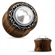 Ecarteur plug en bois avec perle synthétique et anneau tribal