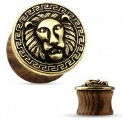 Ecarteur plug en bois avec plateau en laiton à tête de lion et frise grec