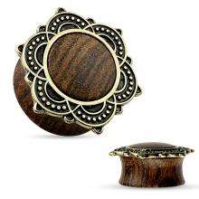 Ecarteur plug en bois avec Rose de Sharon en laiton