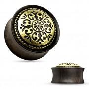 Ecarteur plug en bois d'ébène à bouclier tribal gravé en laiton