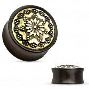 Ecarteur plug en bois d'ébène à gravure florale sur laiton