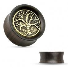 Ecarteur plug en bois d'ébène avec arbre de la vie sur piece de laiton