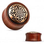 Ecarteur plug en bois de rose à bouclier tribal gravé en laiton cuivré