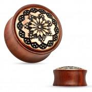 Ecarteur plug en bois de rose à gravure florale sur laiton cuivré