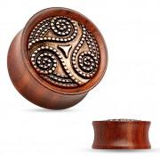 Ecarteur plug en bois de rose à Triskèle gravé sur laiton cuivré