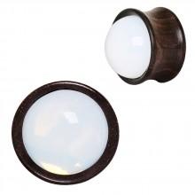 Ecarteur plug en bois d'ébène à sphère d'opale