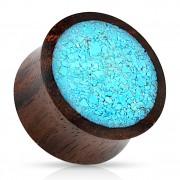 Ecarteur plug en bois marron remplis de turquoise concassée