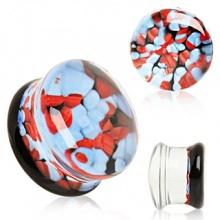 Ecarteur plug en verre à motif caillous rouges et bleus