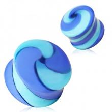 Ecarteur plug en verre à tourbillon bleu style confiserie
