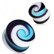 Ecarteur plug en verre à tourbillon multicolore style confiserie