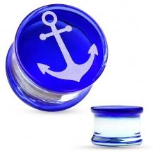 Ecarteur plug en verre pyrex à motif ancre de marine sur fond bleu