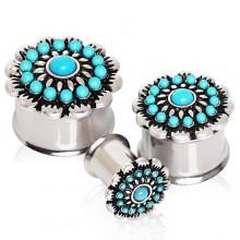 Ecarteur plug à fleur de perles de turquoise