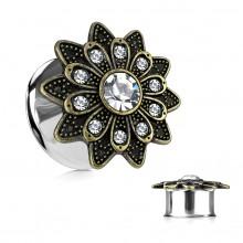 Ecarteur plug à fleur tribale bronze sertie de cristaux