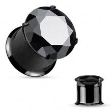 Ecarteur plug noir en acier à large pierre noire facettée