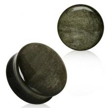Ecarteur plug noir en pierre Obsidienne
