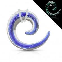Ecarteur spirale en pyrex bleu et transparent fluo