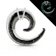 Ecarteur spirale en pyrex noir et transparent fluo