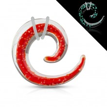 Ecarteur spirale en pyrex rouge et transparent fluo