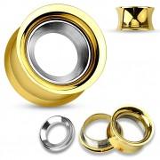 Ecarteur tunnel doré en acier avec anneau gris brossé