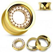 Ecarteur tunnel doré en acier avec cercle de perles