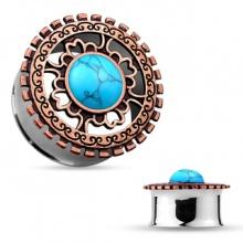 Ecarteur tunnel en acier à face style bouclier antique en laiton cuivré avec Turquoise