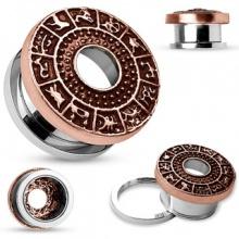 Ecarteur tunnel en acier avec frise astrologique en laiton cuivré