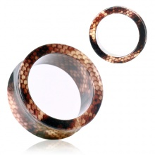 Ecarteur tunnel en acrylique style peau de serpent brun