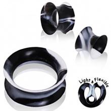 Ecarteur tunnel en silicone marbré noir et blanc