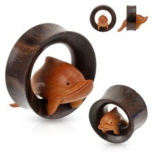 Ecarteur Tunnel gros diamètre en bois à dauphin sculpté