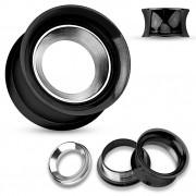 Ecarteur tunnel noir en acier avec anneau gris brossé