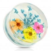 Ecarteur type plug avec bouquet de fleurs bleu, orange, jaune et rose