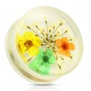 Ecarteur type plug avec bouquet de fleurs jaune, vert et orange