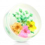 Ecarteur type plug avec bouquet de fleurs vert, orange, rose et jaune
