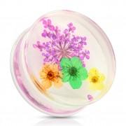 Ecarteur type plug avec bouquet de fleurs violet, orange, vert et jaune