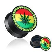 Ecarteur type plug avec feuille de cannabis sur drapeau jamaicain
