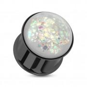 Ecarteur type plug en acier noirci avec opale synthétique