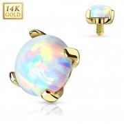 Embout microdermal en or jaune 14 carats avec Opale synthétique