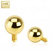 Embout piercing microdermal à boule en or 14 carats