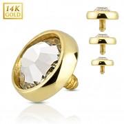 Embout piercing microdermal à dôme plat en or 14 carats avec zirconium